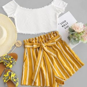 2pc Off shoulder top and short set